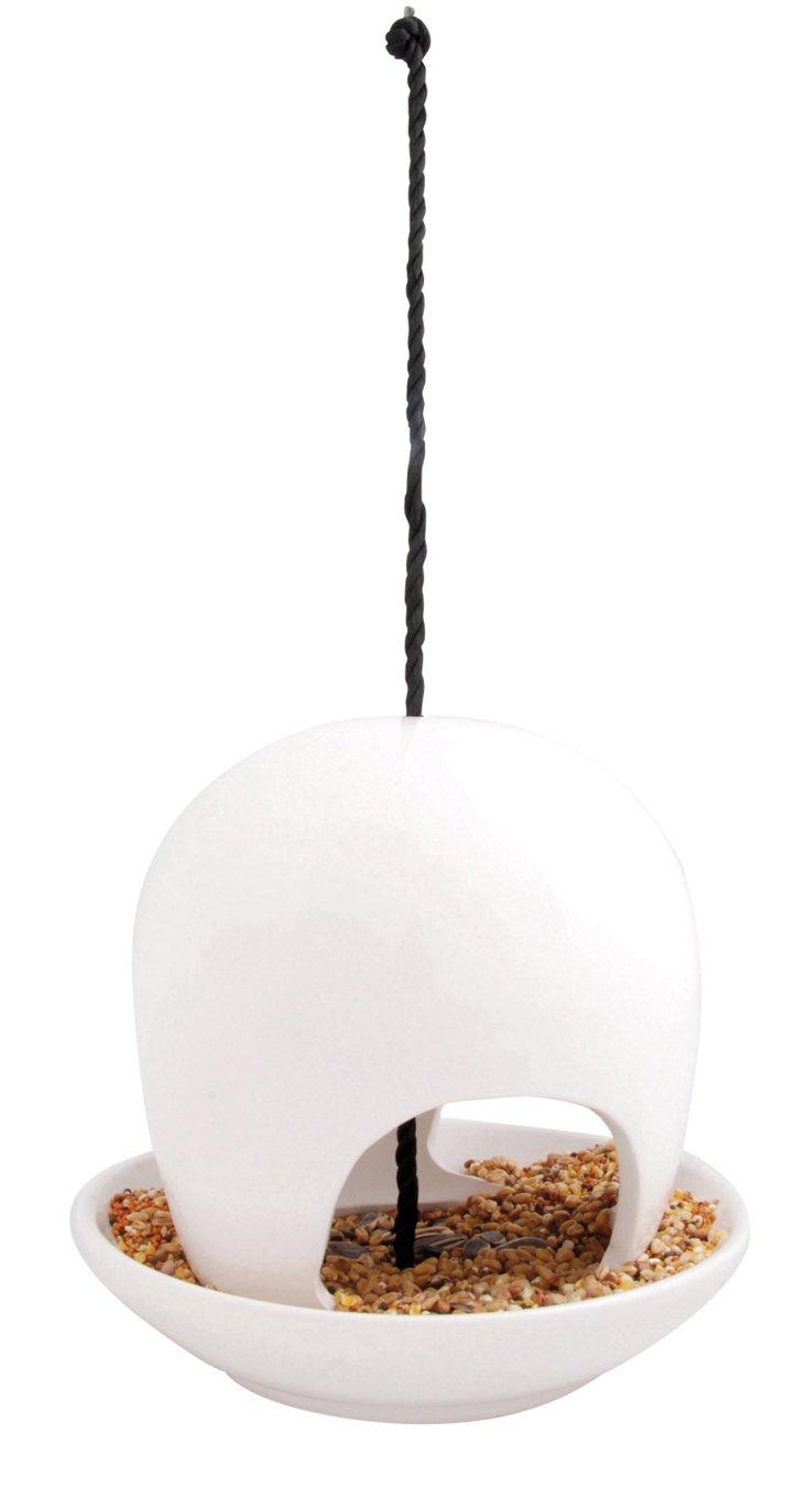 """7"""" Ceramic Birdfeeder, White"""