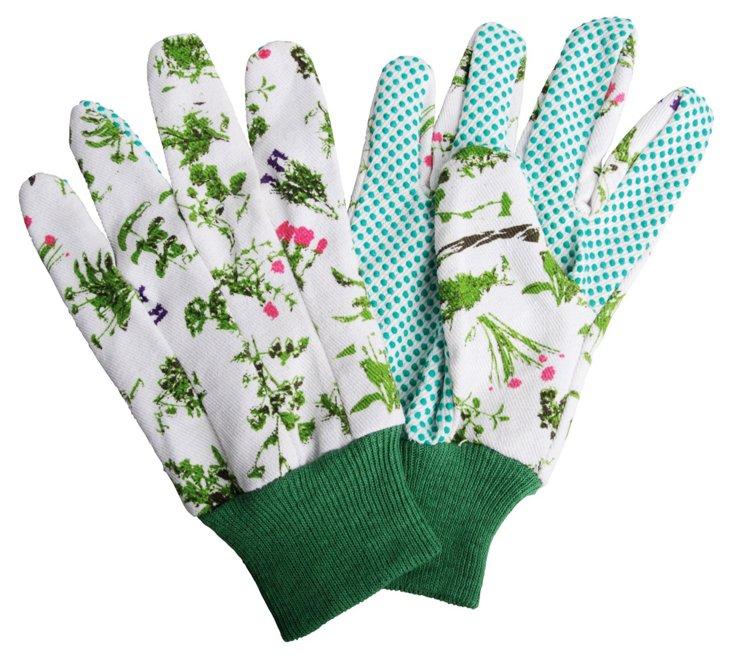 S/3 Herb-Print Garden Gloves