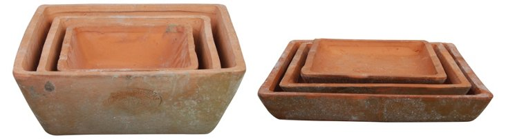 Asst. of 3 Pots & Saucers, Natural