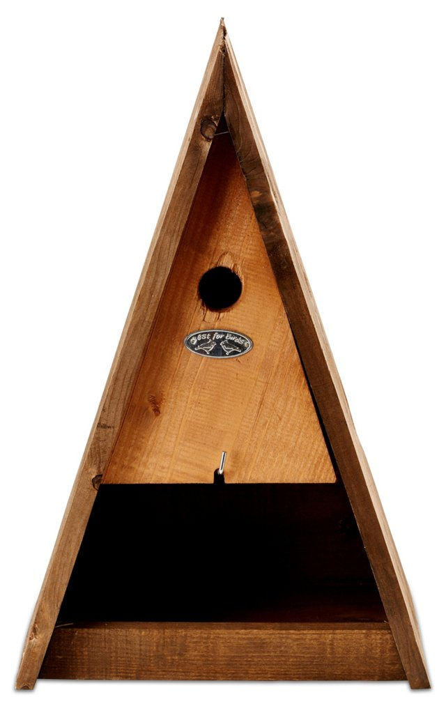 "15"" Triangle Birdhouse & Feeder, Brown"