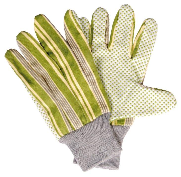 Striped Gardening Gloves, Green
