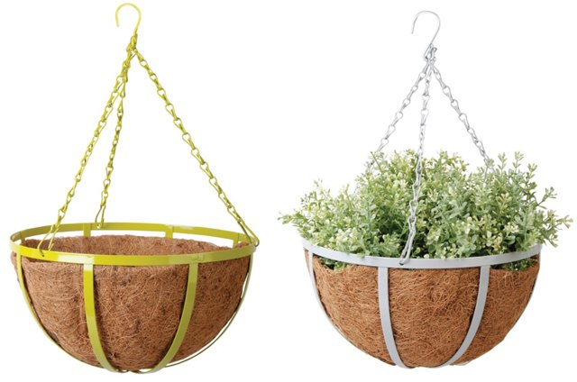 Asst. of 2 Hanging Planters, Yellow/Gray