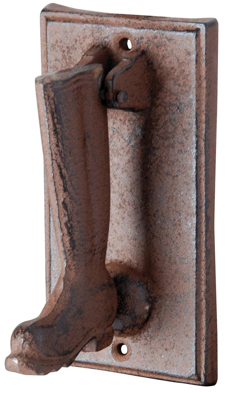 """6"""" Cast Iron Boot Door Knocker, Brown"""