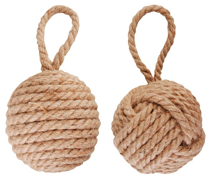 Asst. of 2 Rope Door Stops, Natural