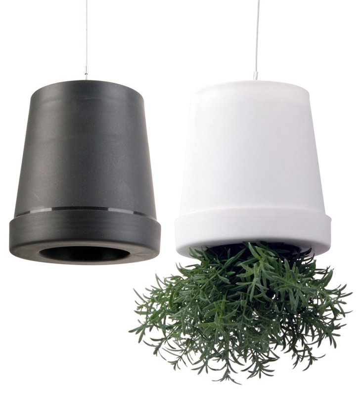 "S/2 5"" Hanging Pots, Gray/White"