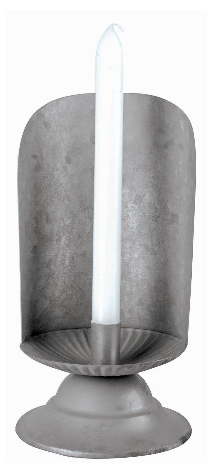 "10"" Old Zinc Candleholder, Gray"