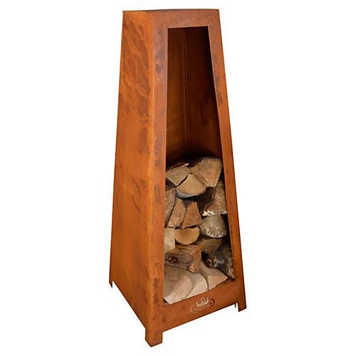 "39"" Standing Wood Storage, Rust"