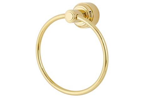Anika Towel Ring, Natural Brass