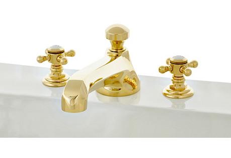 Gramercy Wales Tub Filler, Natural Brass