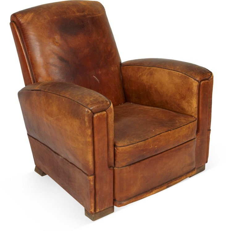 Restored Leather Club Chair