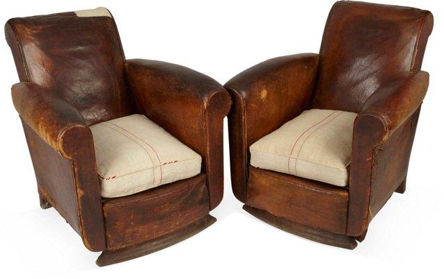 Leather & Grain Sack Club Chairs, Pair