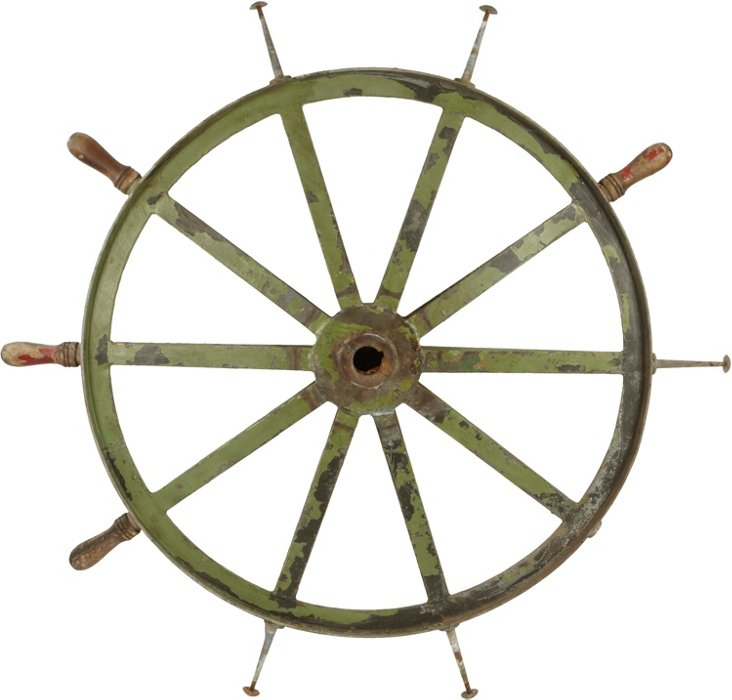 19th-C. Iron Ship Wheel