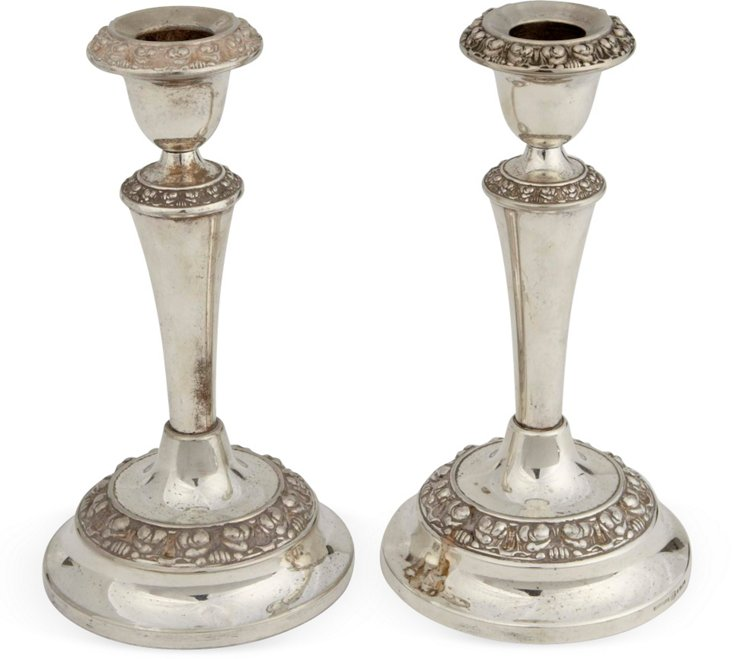 Small Silverplate Candlesticks, Pair