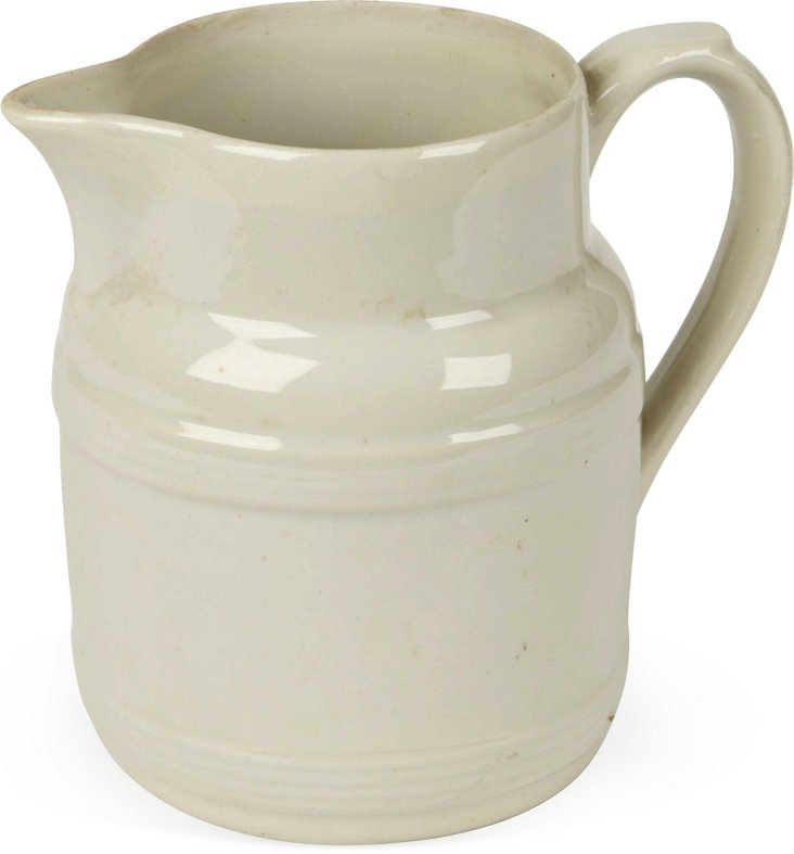 French Ribbed White Pitcher