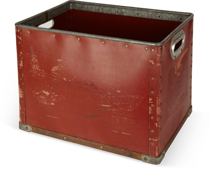 1940s Red French Fabric Bin