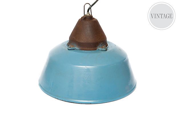 Medium Factory Pendant Light, Sky Blue