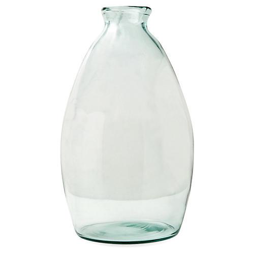 """18"""" Artisanal Bottle Vase, Transparent Green"""