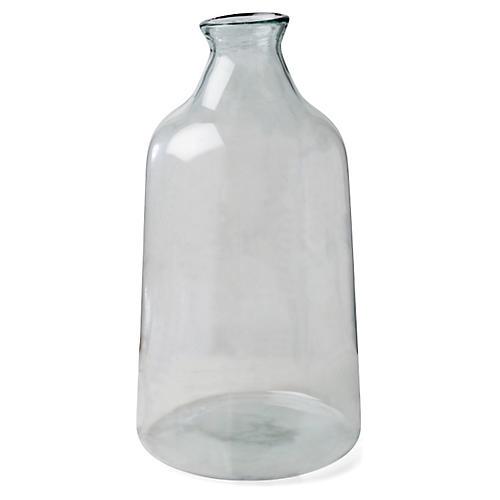 "22"" Artisanal Tall Vase, Transparent Green"