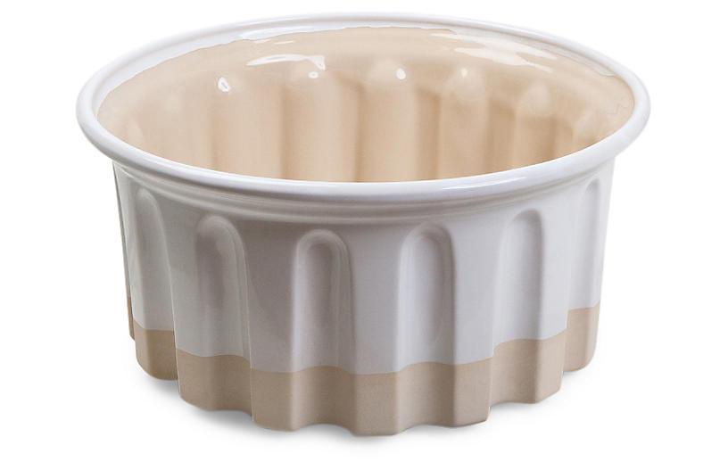 Large Round Baker, White/Beige