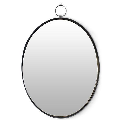 Iron Oval Wall Mirror, Black
