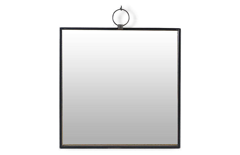 Iron Square Wall Mirror, Black