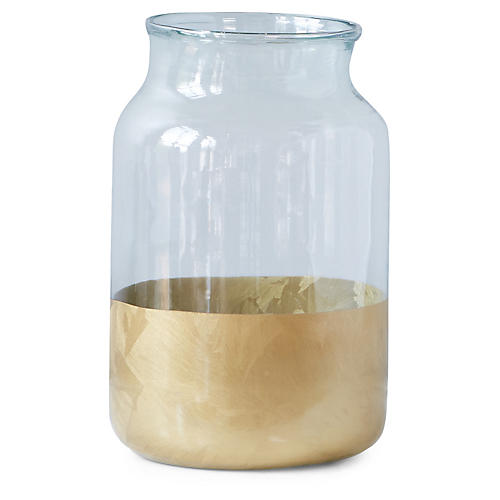 Color-Block Mason Jar, Clear/Gold