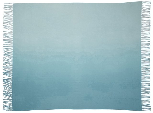Ombré Cashmere-Blended Throw, Aqua