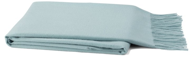 Solid Cashmere-Blend Throw, Lake Blue