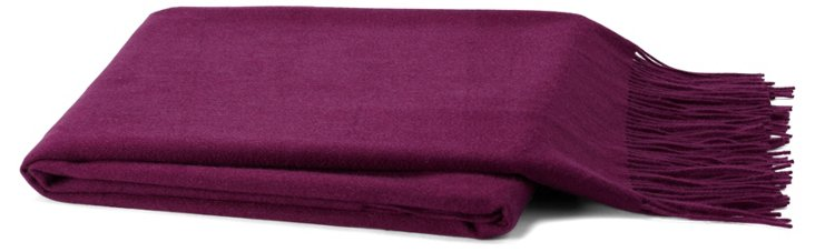 Solid Cashmere-Blend Throw, Violet