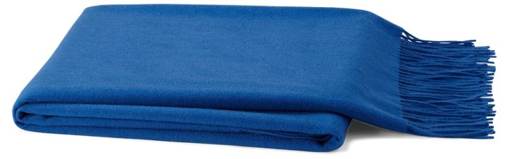 Solid Cashmere-Blend Throw, Cobalt Blue