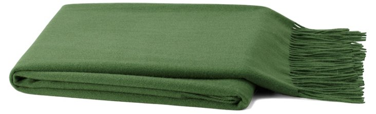 Solid Cashmere-Blend Throw, Green