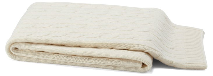 Cable-Knit Cashmere-Blended Throw, Ivory