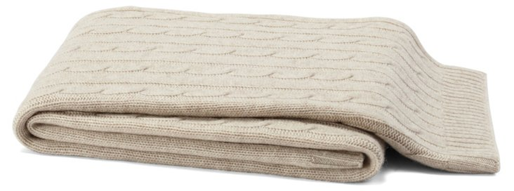 Cable-Knit Cashmere-Blended Throw, Sand