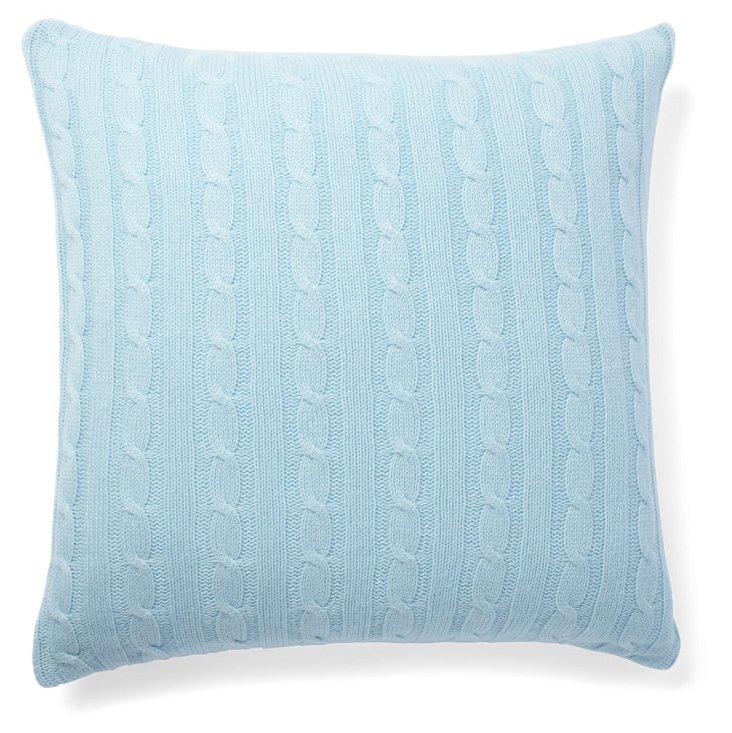 Wool/Cashmere 20x20 Knit Pillow, Sky