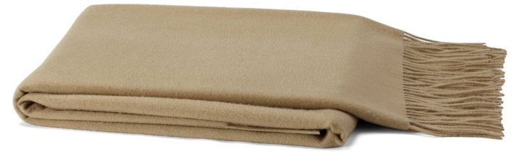 Solid Cashmere-Blend Throw, Camel