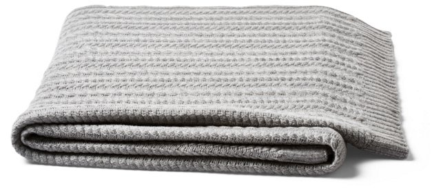 Mini Cable Wool Cashmere Throw, Gray