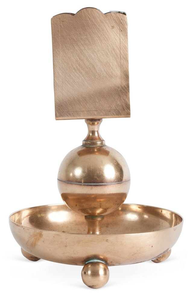 19th-C. Swedish Brass Matchstick Holder