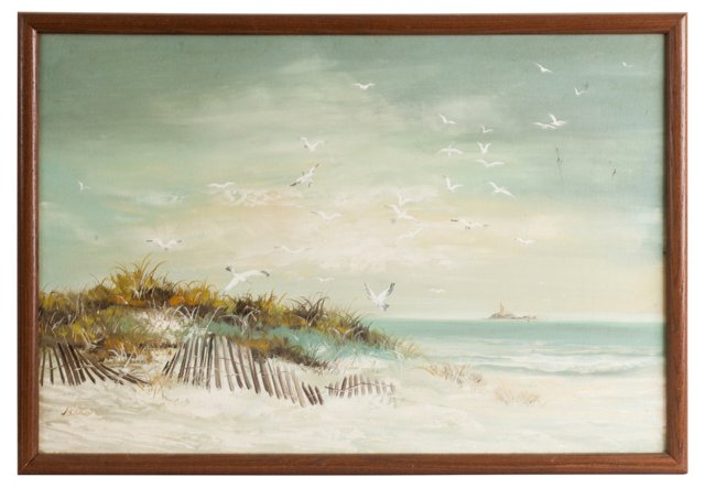 Seagulls & Beach Oil Painting