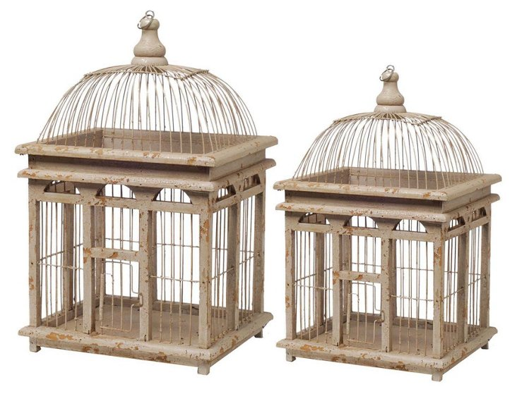 Asst. of 2 Square Birdcages, Ivory