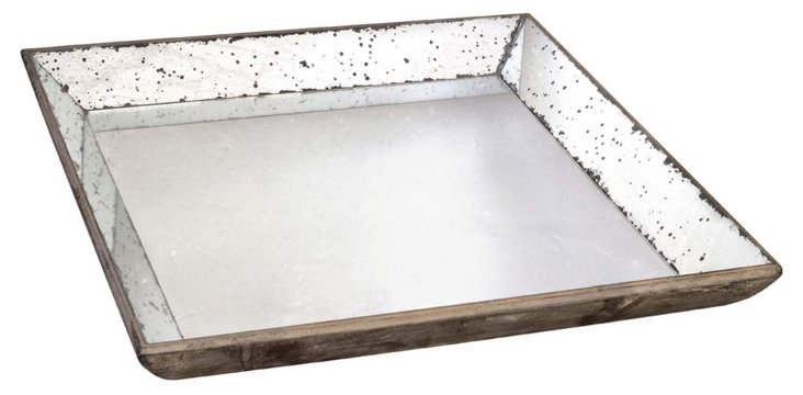 "24"" Square Mirrored Tray, Brown"