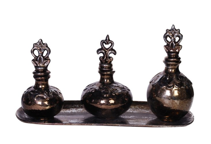 S/3 Ceramic Bottles on Tray