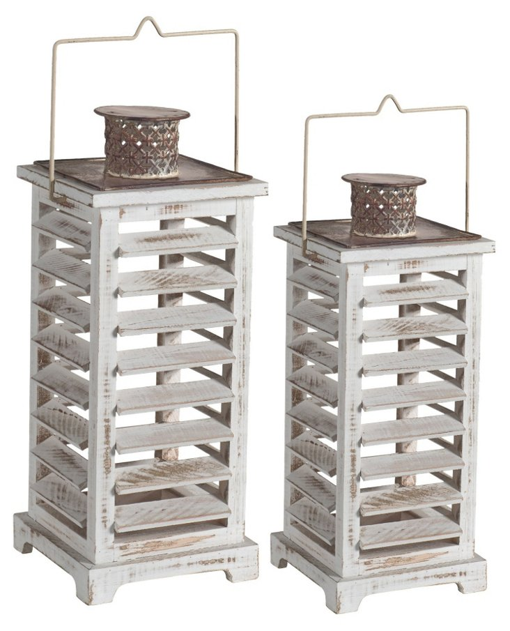 Asst. of 2 Slatted Lanterns, Cream