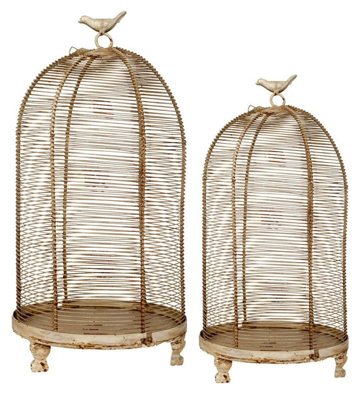 Asst. of 2 Finial Birdcages, Cream