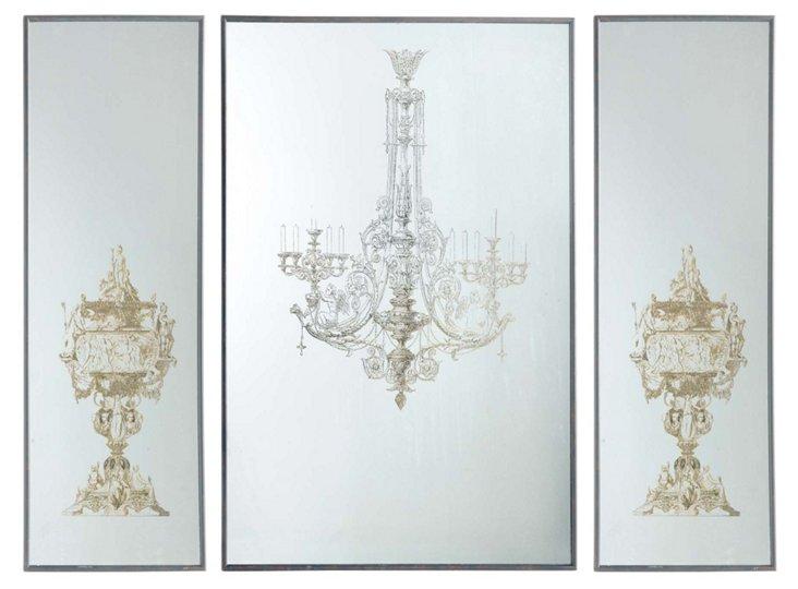 Ritz Mirrored Wall Decor, Set of 3