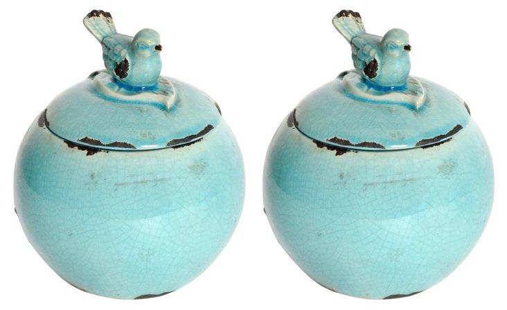 Pair of Round Bird Jars, Blue