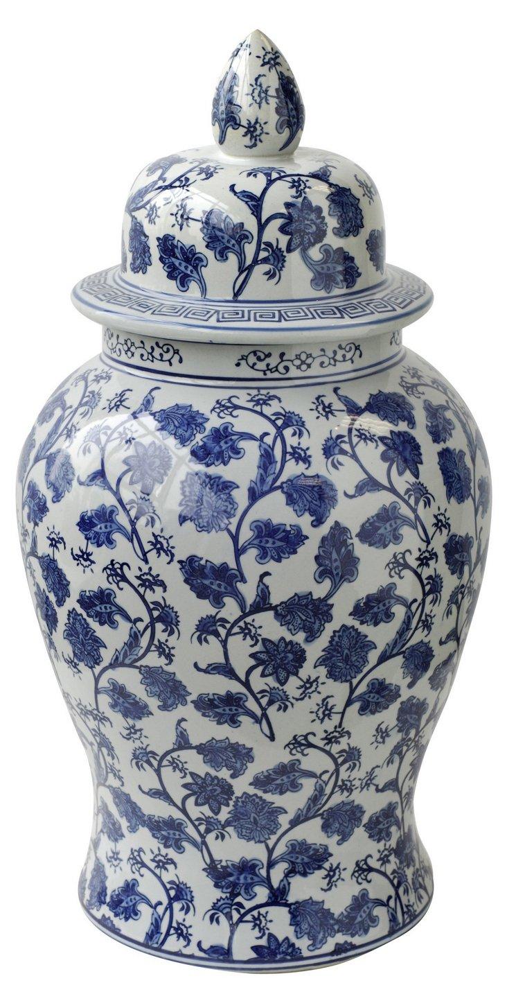 """18"""" Floral Lidded Jar, Blue/White"""