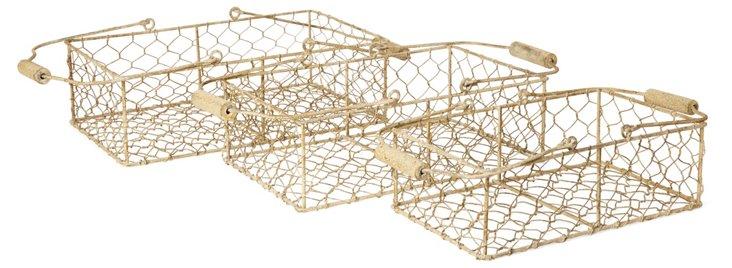 S/3 Assorted Metal Wire Milk Baskets