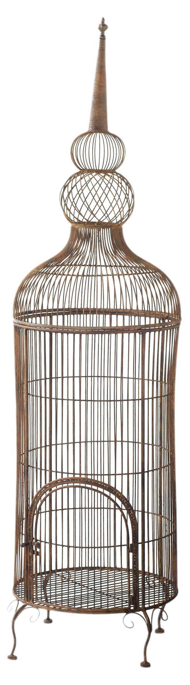 """74"""" Standing Birdcage, Bronze"""