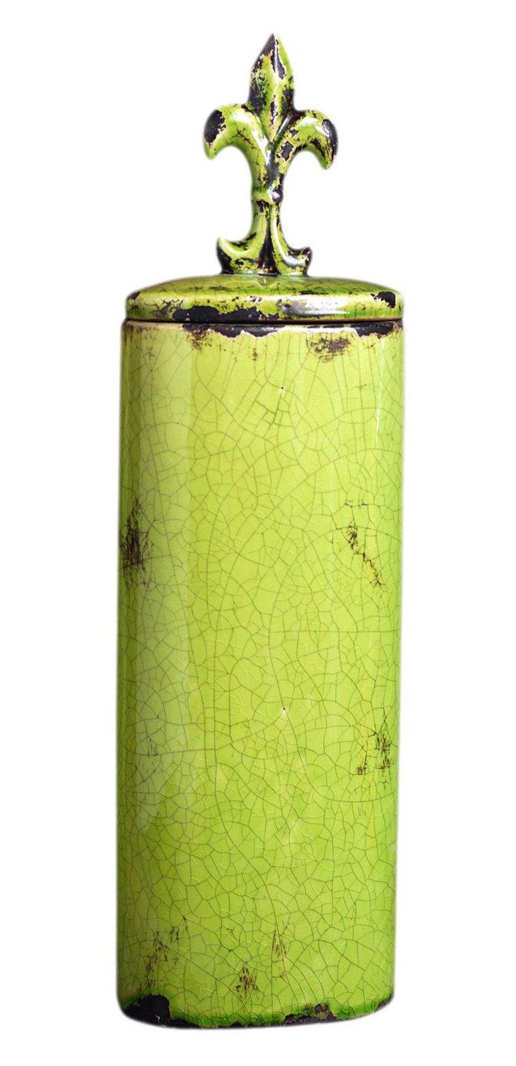 """23"""" Ceramic Lidded Jar, Peridot"""