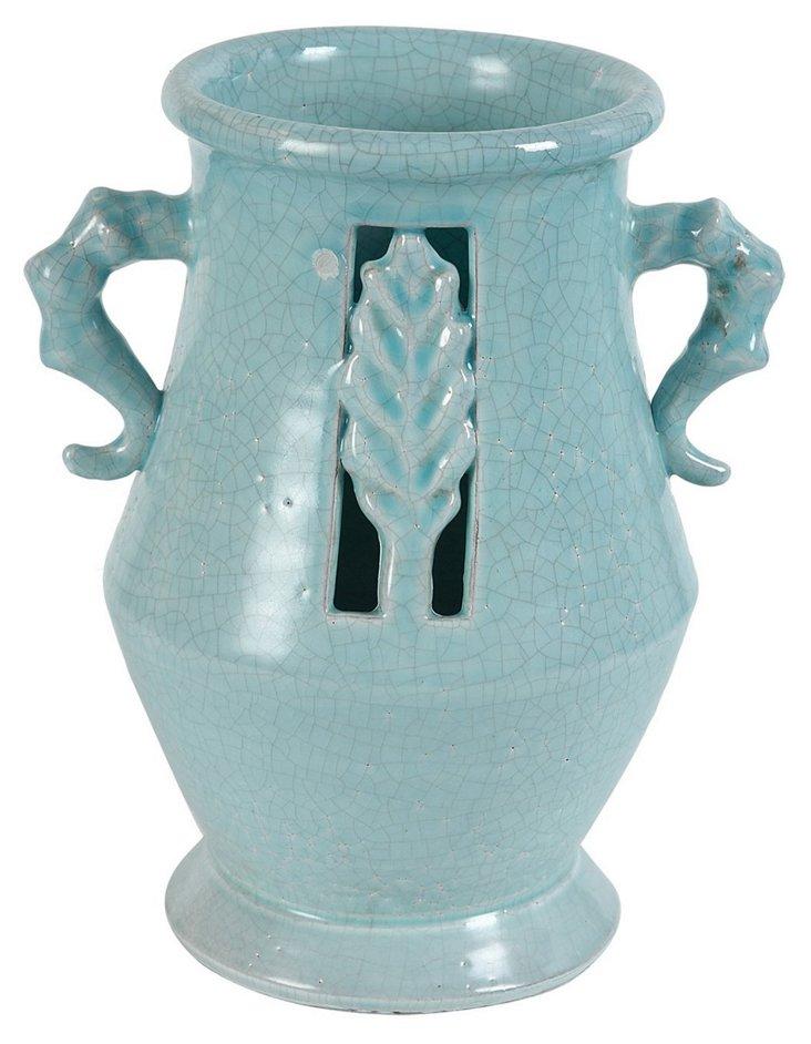 """12"""" Leaf Vase, Blue"""